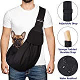 Nasjac Pet Dog Sling Carrier, Puppy Cat Hand Free Waterproof Carry Doggie Papoose Trip Carrie Tote Bag with Front Pocket Safety Belt Adjustable Padded Shoulder Strap Carrying Outdoor Walking Subway