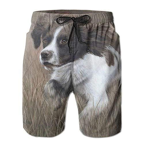 KKONEDS Mens Beach Shorts, Running Dog Swimming Beach Board Shorts for Men Boys, Outdoor Short Pants Beach Accessories, X-Large (Shorts Running Danskin)