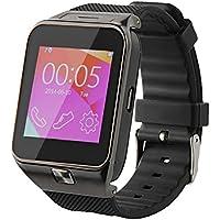 So vedere Orologio Telefono Bluetooth Smart orologio macchina fotografica M9metallo orologio da polso con fotocamera e auricolari per Android (funzioni complete) Samsung S3/S4/S5/Note 2/Note 3/Note 4, HTC, Sony, LG e iPhone 5/5C/5S/6/6Plus (funzioni parziali) (Oro), Uomo, Black