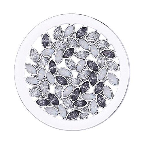 Morella Damen Coin 33 mm Zirkonia Muster schwarz weiß