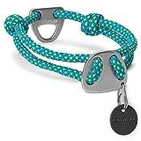 Ruffwear Seil-Halsband für Hunde, Mittelgroße Hunderassen, Größenverstellbar, Reflektorstreifen, Größe: M (36-51 cm), Türkis (Blue Spring), Knot-a-Collar, 25601-447M