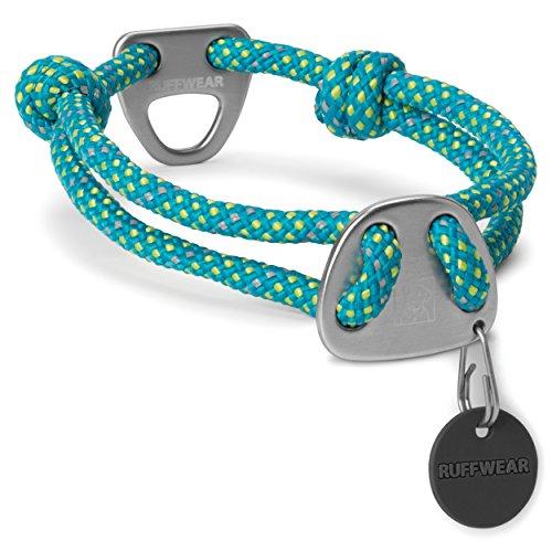 Ruffwear Seil-Halsband für Hunde, Mittelgroße Hunderassen, Größenverstellbar, Reflektorstreifen, Größe: M (36-51 cm), Türkis (Blue Spring), Knot-a-Collar, 25601-447M (Leine Wear Reflektierende Ruff)