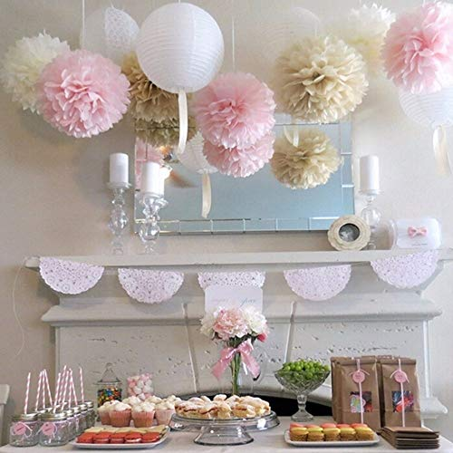 20 Cm Pom Tissue Paper Pompom Ball Events Party Baby Shower Birthday Kids Crafts Wedding - Decorative White Decorations Paper Black Tissue Crafts ()