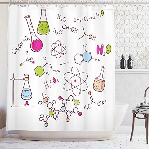 ABAKUHAUS Duschvorhang, Gekritzel Art Gezeichnete Chemie zusammensetzung Atom Molekül Flasche Nerd Geek Thema Druck, Blickdicht aus Stoff inkl. 12 Ringen Umweltfreundlich Waschbar, 175 X 200 cm (Duschvorhang Bang Big Theory)