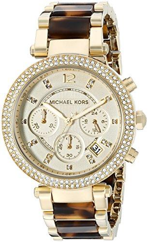 Michael Kors Parker MK5688 – Reloj cronógrafo de cuarzo para mujer, correa de diversos materiales multicolor (cronómetro, agujas luminiscentes)