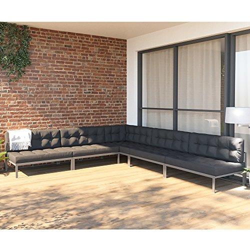 OSKAR XXL Alu Lounge Gartenmöbel Set inkl. Palettenkissen Gartenlounge Sitzgarnitur Sitzgruppe Anthrazit