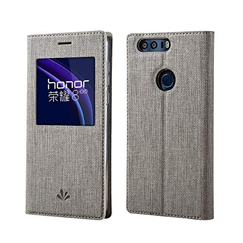 Huawei Honor 8 Hülle,Eactcoo Dünn Premium PU Leder klappbares Folio Flip Case Book TPU Cover Tasche Mit Smart Window View Standfunktion Magnetverschluss Kartenfach Wallet Handyhülle,Gray