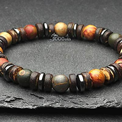 Bracelet homme/Femme perles Ø 8mm Pierre naturelle Jaspe Picasso, Bois Cocotier/Coco, Hématite Made in France BRAPICARI-18