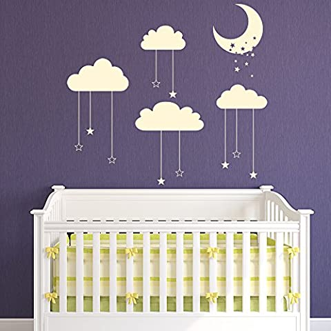 Star & Moon Cot Mobile Wall Sticker Cloud Wall Decal Baby Nursery Decor available in 5 Sizes and 25 Colours Large Cloud Grey
