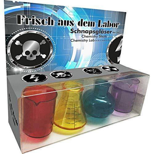 NET TOYS Shot-Gläser Labor | Buntes 4-teiliges Set | Witzige Party-Deko Reagenzgläser Chemielabor geeignet für Mottoparty & ()