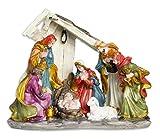 Vetrineinrete Presepe in poliresina per Natale capanna con natività re Magi pastori Statue statuine Decorazioni Natalizie 76678 F10