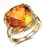 Epinki 14K Gold Ringe Quadrat Hohl Blumen Form Damen Eheringe AntragsringeGold mit 10ct Gelb Citrin Gr.57 (18.1)