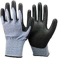 Unisex Negro y Azul anti Corte Nivel 5 (la más alta) Guantes. Certificado CE, ideales para los jardineros, trabajo, Bricolaje, Constructores, Electricistas y Fontaneros. (Grandes)