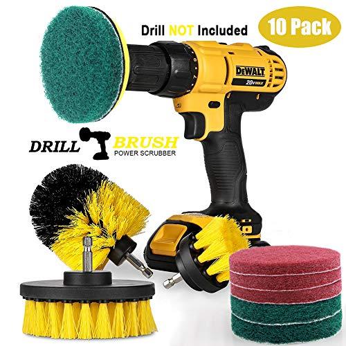 Swonuk Drill Brush, 10pcs Cepillos Taladro Accesorio Scrub Brush Kit Power Scrubing Auto...