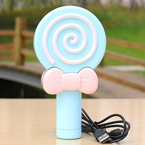 Mini-Fan Portable niedlichen Lutscher Hand-Portable stille Desktop wiederaufladbar, Blue Lollipop ()