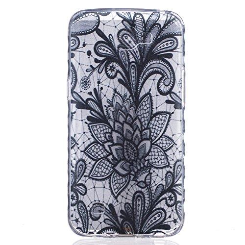 Cozy Hut Crystal Case Hülle für LG K4 aus TPU Silikon mit Black Rose Design - Schutzhülle Cover klar in schwarz Weiß Transparent - Black Rose