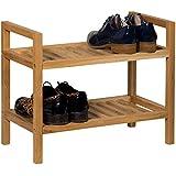 Waverly roble apilable Zapatero en roble acabado para 4pares de zapatos | estrecho sólido de madera organizador/soporte | 2niveles