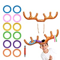 TAZEMAT Christmas Toss Game 2 Pcs Inflatable Reindeer Antler Hat with 12 Pcs Inflatable Throwing Rings Kids Adults Indoor Outdoor Game Party Favors Xmas New Year Fun Toys Gifts