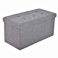 BRIAN & DANY Folding Linen Storage Boxes Footstool Ottoman, Foot Rest Stool, Foldable Seat Bench Footrest - Gray, 76 x 38 x 38 cm