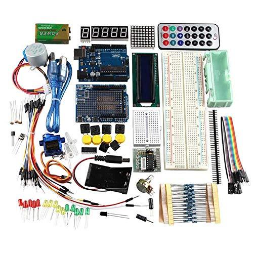 Zufriedenstellendes Produkt R3 UNO Learning Kit Für Arduino Mit Schrittmotor 1602LCD Sensoren Servo Breadboard Jumper Wire Batterie-jumper-box