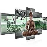 Runa Art Bilder Buddha Feng Shui Wandbild 200 x 100 cm Vlies - Leinwand Bild XXL Format Wandbilder Wohnzimmer Wohnung Deko Kunstdrucke Grün 5 Teilig - Made IN Germany - Fertig zum Aufhängen 503251b