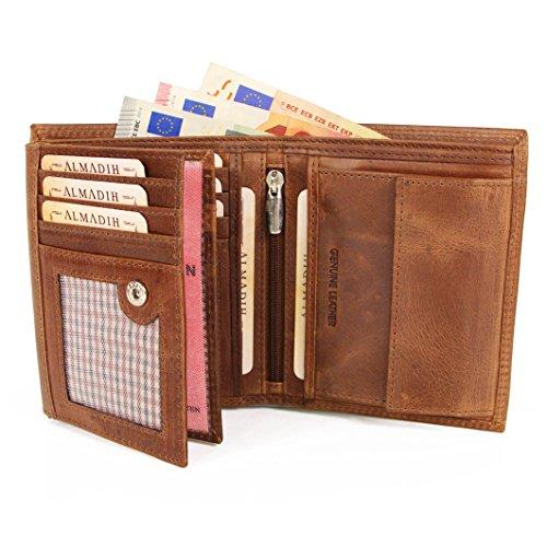 ALMADIH Leder Portemonnaie Premium Rindsleder hochformat - 12 bis 18 Kartenfächer Braun Vintage Schwarz - Herren Geldbörse Geldbeutel Portmonee Brieftasche Börse Herrenbörse