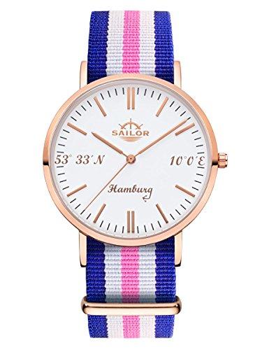 Sailor Uhr Limited Edition Hamburg, Model: Hamburg in rosègold/weiß mit verschiedenen Armbändern   Quarzuhr mit analoger Anzeige   Exclusives Nordsee Accessorie 2018, Farbe Armband:Port Side (Side-ports)