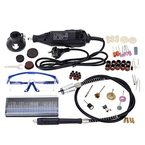KKmoon Professionelle elektrische Schleifen Set 110-230V AC Regulierung Speed Drill Grinder Tool für Fräsen Polieren Bohren Schneiden Gravieren-Kit mit 114st Zubehör
