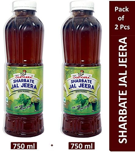 GSA's Chatkara® Jal Jeera (750ml+750ml) Juice containing Pudina, Jeera & Ginger Powder, Black Pepper. Body Coolant Drink for Increasing Digestive Power & Detoxification. Pack of 2 Bottles.