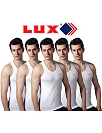 Lux Sleeveless White Cotton Vests - Pack Of 5