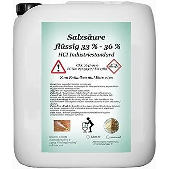 ef54acb1b0d Acide chlorhydrique 33% min. L Industrie Ware 33-36% HCL 5 l  Amazon ...