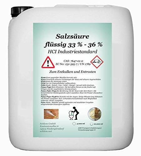 Acido cloridrico minimo 33%, HCI 33–36%, prodotto industriale, tanica da 5litriPer la decalcificazione e per l'eliminazione della ruggine.