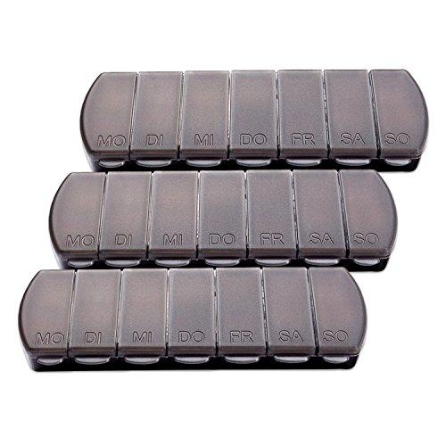 Tabletten-box (Schramm® 3 Stück Tablettenbox schwarz 11x4 x1,5cm Pillen Tabletten Box 7 Tage Schachtel Tablettendose 3er Pack Pillendose Pillenbox Tablettenboxen Pillendosen Pillen Dose)