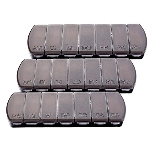 Schramm® 3 Stück Tablettenbox schwarz 11x4 x1,5cm Pillen Tabletten Box 7 Tage Schachtel Tablettendose 3er Pack Pillendose Pillenbox Tablettenboxen Pillendosen Pillen Dose