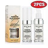 2 PCS TLM couleur sans faille changeante ton chaud peau teint, base de maquillage correcteur de couverture liquide visage nude (2 Pcs Foundation)