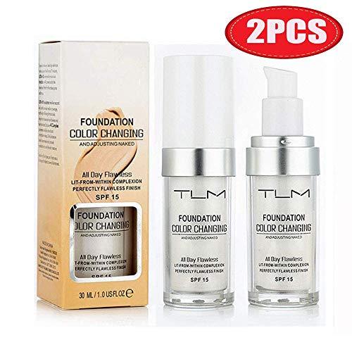 TLM Concealer-Abdeckung, (2 Stück) Makelloses Make-up für die farbwechselnde Grundierung, Warm Skin Tone Foundation, Feuchtigkeitsspendende Basis-Concealer für die Abdeckung von Nude Face