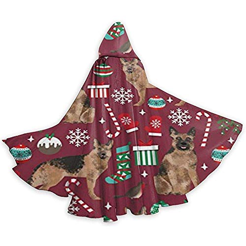 German Shepherds Dogs Christmas Adult Tunika Hooded Knight Halloween Mantel Robe Kostüm Weihnachten, 59Inch (Shepherd Adult Kostüm)