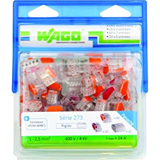 Wago WAG273/PAN100 Wire Connectors: 20 x 2 Wires, 60 x 3 Wires and 20 x 5 Wires, Pack of 100