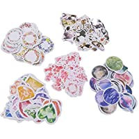 Cute Adhesive Sticker Set (Assorted 150 Pieces) Kawaii Cat Fresh Floral Garland Pink Flower Color Diamond Universe Planet Moon Earth Stationery Label School Office Supplies for Scrapbooking Art Craft