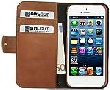 """Funda de cuero genuino Stilgut """"Talis"""" Book Type para Apple iPhone SE de cuero original con compartimiento para tarjetas de crédito y de visita, Cognac Vintage"""
