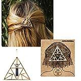 Barrette à Cheveux pour Femmes, Triangle, Amazonia par Yo Simone - Accessoire Coiffure, Pince, Clip, Épingle, Métal doré