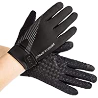 Workout Gloves, Full Palm Protection & Extra Grip, Gym Gloves for Weight Lifting, Training, Fitness, Exercise Running Cycling (Size Large) Black