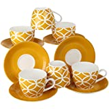 Femora Fine Bone China Yellow Color Cup Set With Saucer, Set Of 12, 210 ML