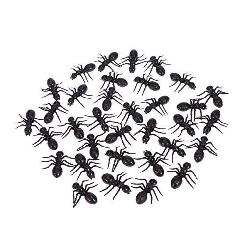 Toyvian 50 Stücke Kunststoff Ant Gefälschte Große Ant Streich Scherz Spielzeug für Halloween Parteien Karneval Kostüm Party (Schwarz)