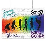 HAPPY FREAKS Poster 'Evolution Musik' mit Schrift DIN A2 - Musik-Wandbild - Plakat ohne Rahmen - Bilder und Dekoration