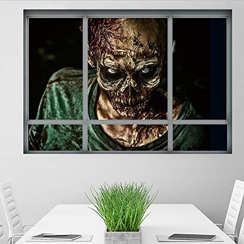 xmydeshoop Halloween Zombie PVC Wandaufkleber Horror Poster Ansicht Fenster Aufkleber Zimmer 3D Wand-Dekor DIY Abziehbilder