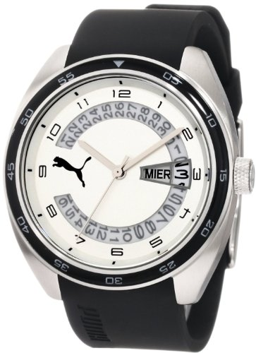 Puma - PU102521002 - Course L - Montre Homme - Quartz Analogique - Cadran Blanc - Bracelet Caoutchouc Noir