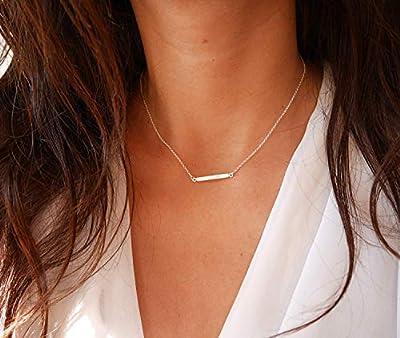 Collier barre argent minimaliste - Collier mariage argent - Barre argent - chaîne argent - collier fin tendance - bijoux tous les jours
