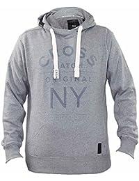 New Mens Crosshatch Brand Printed Pullover Hoodie Melange Effect Sweatshirt Top