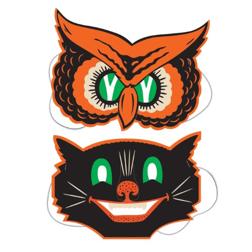 Beistle 2er-Pack Eulen- und Katzenmasken, 22,9 cm